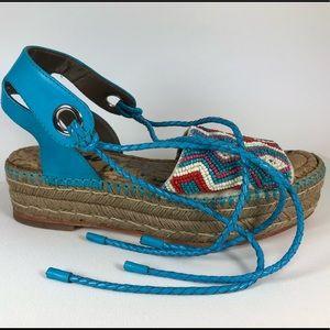 Same Edelman beaded wedge sandals